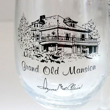 vintage glasses set of 4~grand old mansion haunted house sherry, cordial, liqeuor glasses~antique retro haunted house sherry glasses