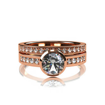 white sapphire engagement ring set, sapphire ring, white sapphire engagement ring, diamond ring, bezel, rose gold, solitaire, eternity