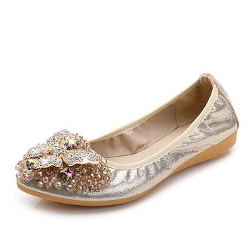 Women Bling Cloth Pointed Toe Ballet Flats 2017 Spring/Autumn Female Brand New Crystal Slip-On Casual Shoes WXD104