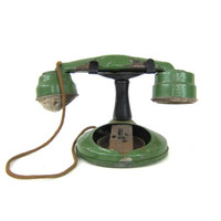 Green metal toy phone Vintage Antique distressed Photo Prop Display Children's Child's Toy Room Decor Louanne's Estate Sale