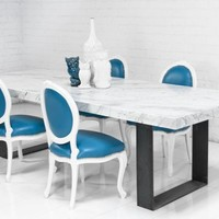 www.roomservicestore.com - Farmhouse Italian Carera Marble Dining Table