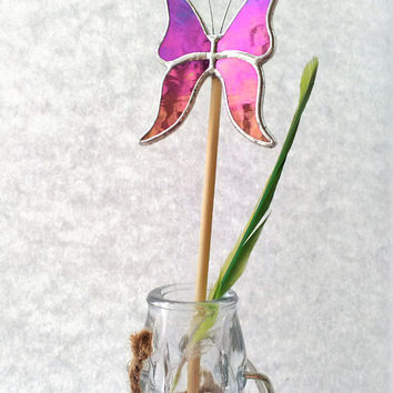 Iridescent Butterfly Pot Plant Decoration for Flowers Vases or Gardens, In Memory of Mum on Her Birthday, Mum in Heaven Gift Always With You