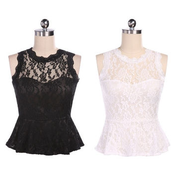 Womens Sleeveless Embroidery Lace Peplum Tops Tee T-Shirt Slim Vest = 1658554628