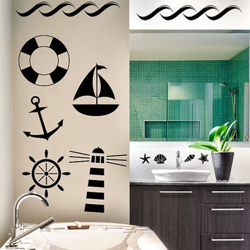 Nautical theme various size vinyl wall decal, light house, anchor, sailboat, life preserver, birds, sea shells, starfish, waves, ship wheel