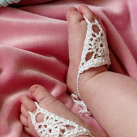 Barefoot Sandals for baby  crochet jewelry by BusyLizzyBoutique