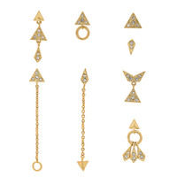 Luv AJ The Pave Kite Mixed Earring Set in 14K Antique Gold