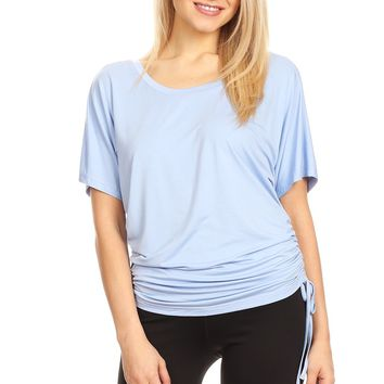 Women's 3/4 sleeve Tank Top With A V Cut And Adjustable Drew String