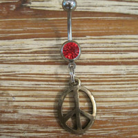 Belly Button Ring - Body Jewelry - Gold Peace Sign with Red Gem Stone Belly Button Ring
