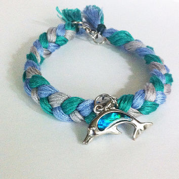 Blue, silver, teal braided anklet with dolphin charm, braided anklet, dolphin anklet, blue ankle bracelet, nautical anklet, textile anklet