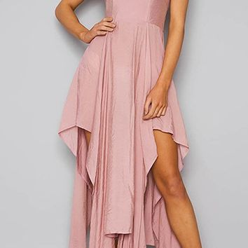 Just A Touch Sleeveless Spaghetti Strap V Neck Backless Asymmetrical Hem Maxi Dress - 4 Colors Available