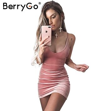 BerryGo Lace up velvet dress women Backless short party sexy dress midi dress Pencil skater bodycon dress evening retro vestidos