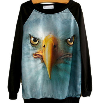 Black Eagle Print Sweatshirt
