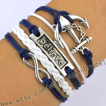 Anchor Bracelet, believe Bracelet, infinity Bracelet, Antique Silver Bracelet, navy blue leather, the gift of friendship, Christmas gifts