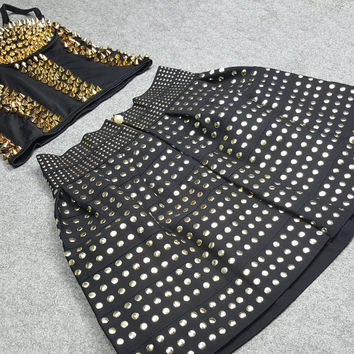 Gold and Black Beaded Punk Style Skirt