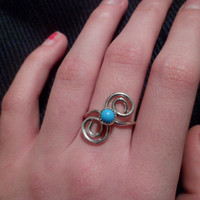 Authentic Navajo,Native American,Southwestern,sterling silver spirals sleeping beauty turquoise ring. Size 7