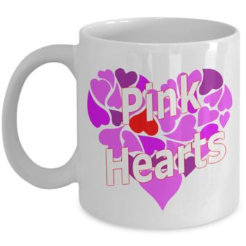 """""""Pink Hearts"""" Coffee Mugs by #Medifornia. Buy as a Gift."""