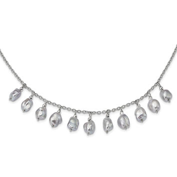 Sterling Silver Rhodium-plate 7-9mm Grey Baroque FWC Pearl 2in ext. Necklac QH5344