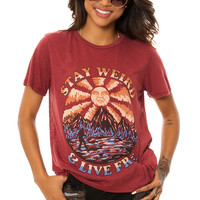 Obey Tee Stay Weird in Burnt Henna Red