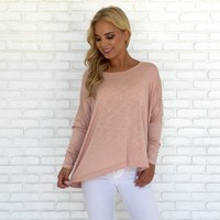 Casual Cute Jersey Top In Blush Pink