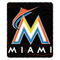 Miami Marlins MLB Light Weight Fleece Blanket (Wicked Series) (50inx60in)
