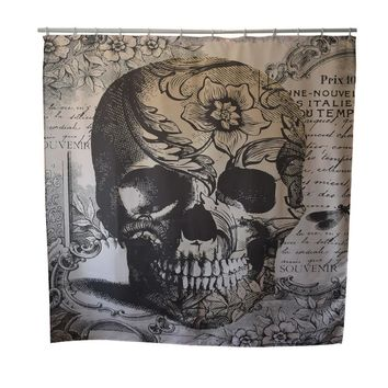 Skull Waterproof Shower Curtain With Hooks