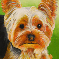 Yorkie Sticker Dog art print painting Original crafts scrap photo book Yorkshire Terrier