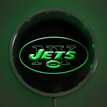 rs-b0052 New York Jets LED Neon Round Signs 25cm/ 10 Inch - Bar Sign with RGB Multi-Color Remote Wireless Control Function