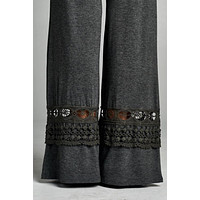 Pants with Decorative Bottoms - Charcoal