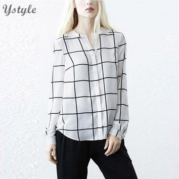 Women's Fashion Plaid Shirt Female Loose Office Blouse 2016 Casual Ladies Long Sleeve Cotton Checkered Shirts Tops blusas Br213