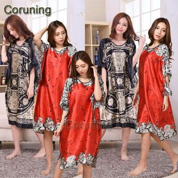 A1687 Time Limited Summer Style Women Nightgown 2016 Sleepwear Plus Size Indoor Clothing Faux Silk Robe Home Bathrobe