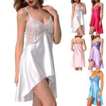 Womens Satin Chemise Lace Nightdress Nightgown Slips Babydoll Nightie Sleepwear