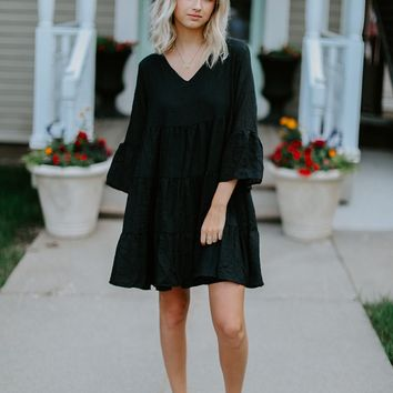Ruby Ruffle Day Dress (Black)