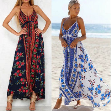 Fashion  Halter Sleeveless V-Neck Backless Multicolor Flower Print Maxi Dress