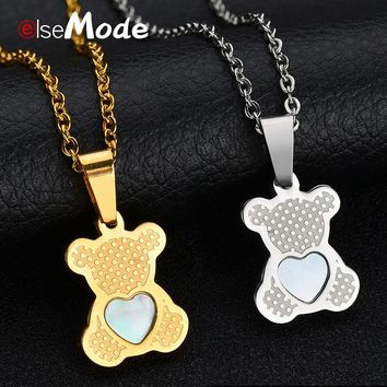ELSEMODE  Women Lovely Heart Shell Bear Dolphin Giraffe Butterfly Lion Pendant Necklace Stainless Steel Gold For Femme Jewelry