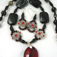 Elegant Black Agate Siam Swarovski Red Glass Pendant Necklace Earrings