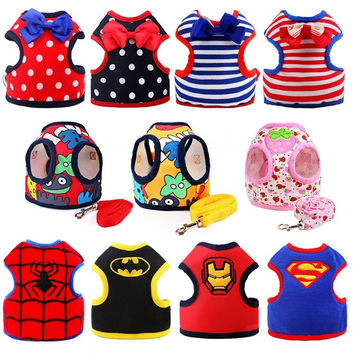 Various Safety Walking  Puppy Pet Harness Set Cartoon Cat Dog Harness Leashes + Matching Lead Leash