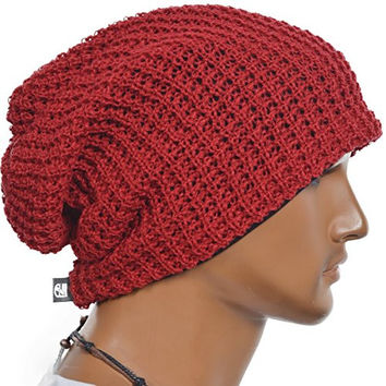Mens Slouchy Long Oversized Beanie Knit Cap for Summer Winter B08 (Red)