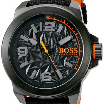 BOSS Orange Men's 'NEW YORK' Quartz Resin and Canvas Casual Watch Color:Black...