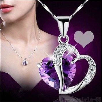 Chain Pendant Necklace Jewelry Fashion Women Heart Crystal Rhinestone Silver