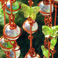 Glass Suncatcher with Iridescent Spring Green and Clear Copper Wrapped Marbles & Light Green Butterflies, Home and Garden Decor