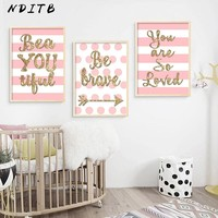 NDITB Baby Girls Nursery Wall Decor Poster Quotes Canvas Art Print Painting Nordic Decoration Wall Picture for Living Room