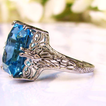 Antique Engagement Ring 6.00ct Emerald Cut Blue Topaz Ring 18K White Gold Filigree Alternative Engagement Ring Blue Topaz Wedding Ring!