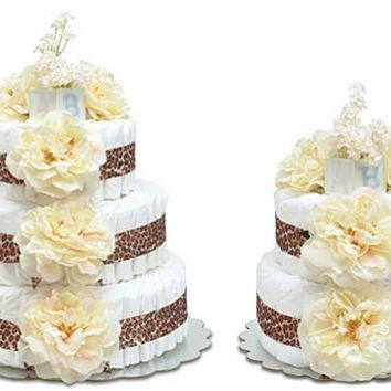 Bloomers Cream Peonies with Leopard Baby Diaper Cake