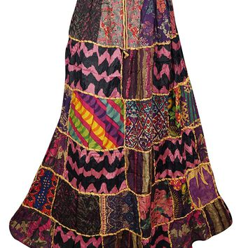 Mogul Interior Womens Patchwork Skirt Sweet Spinner Girl Vintage Indian Inspired Ethnic Swirl Style Multi Long Skirts S
