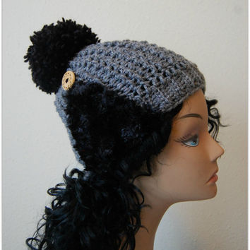 Women PomPom Beanie - Grey Crochet hat with large PomPom and earwarmers - handmade crochet hat beanie - gift for her