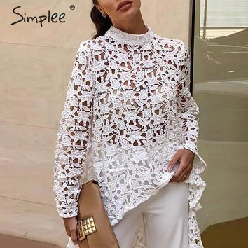Simplee Sexy long sleeve embroidery blouse