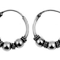 Sterling Silver Hoop Bali Earrings 15 x 4 MM