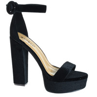 #Tournament06M Black by Bamboo, Black Velvet 70's Retro Block Heel Platform Dress Sandal
