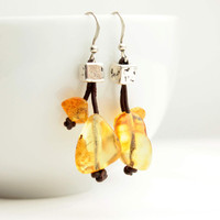 Amber & Leather Earrings Organic Style Dangle Honey Brown Natural Jewelry Rustic Transparent Dangling Handcrafted Bee Earthy Fall Fashion