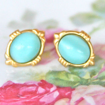 Vintage Aqua Blue Robins Egg Blue Oval Moonstone Glass Gold Brass Post Earrings -Wedding ,Bridesmaid